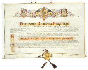 Az Aranygyapjas rend oklevele Ferenc József császár aláírásával és pecsétjével (OSZK Régi Nyomtatványok Tára)