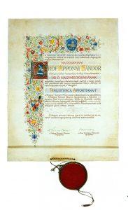 A Nemzeti Múzeum Akantisz Viktor által készített festett pergamen köszönőlevele Apponyi Sándor számára (OSZK Régi Nyomtatványok Tára)