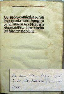 A tizennégy évesen vásárolt ősnyomtatvány címlapja (OSZK Régi Nyomtatványok Tára Inc. 1027c)