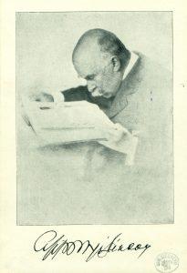 Az idős Apponyi Sándor fotója saját kezű aláírásával (OSZK Régi Nyomtatványok Tára)