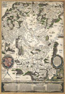 Tabula Hungariae. Magyarország első nyomtatott térképe, Ingolstadt, 1528, Appianus. (OSZK Régi Nyomtatványok Tára App. M. 136)