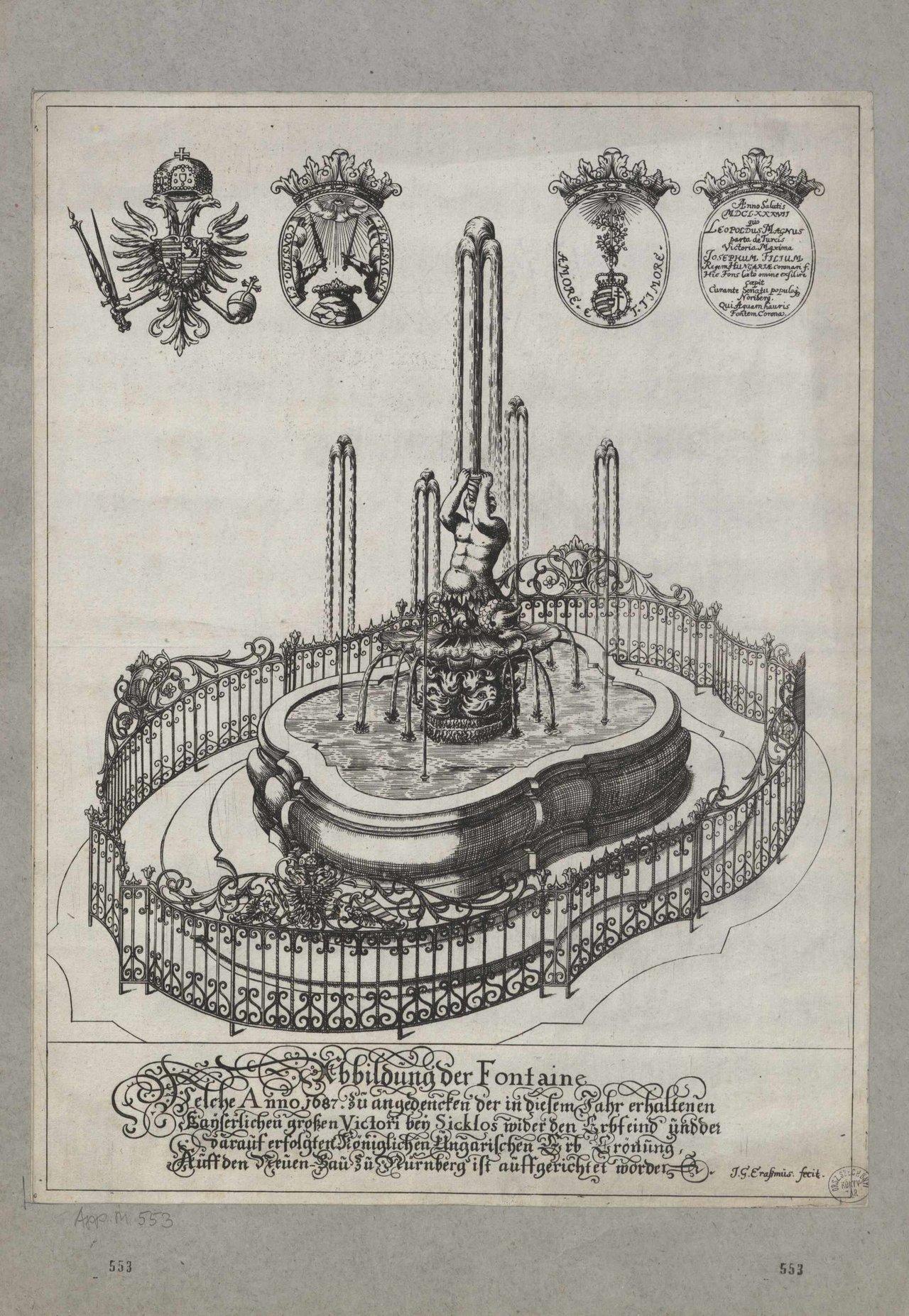 A nagyharsányi csata emlékére emelt szökőkút Nürnbergben (OSZK Régi Nyomtatványok Tára, App. M. 553)